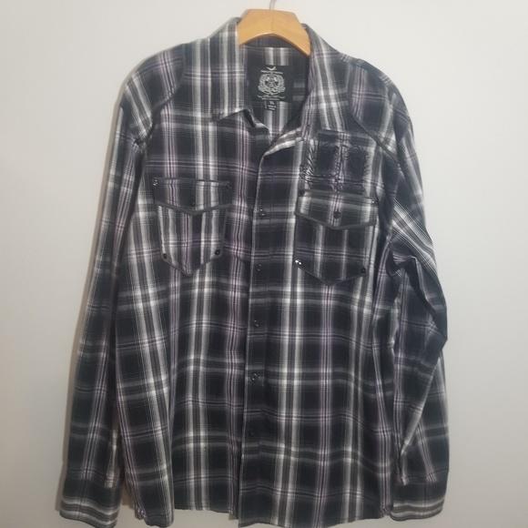 triple fat goose Other - Triple Fat Goose XL purple black plaid shirt